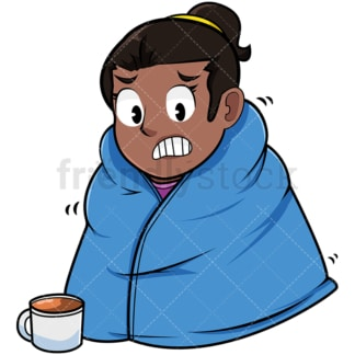 Black woman with warm blanket on. PNG - JPG and vector EPS file formats (infinitely scalable). Image isolated on transparent background.