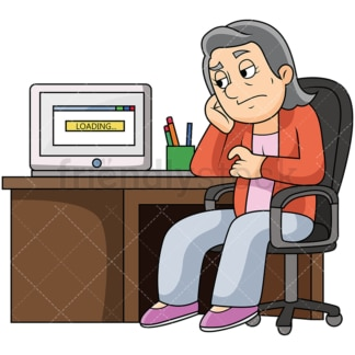 Bored old woman slow computer. PNG - JPG and vector EPS file formats (infinitely scalable). Image isolated on transparent background.