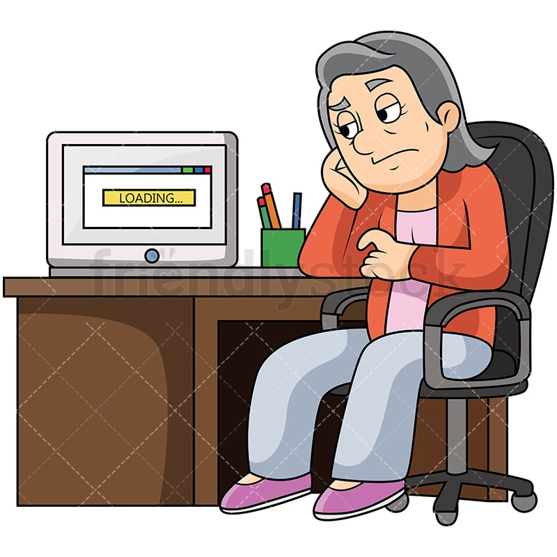 Bored Old Woman Slow Computer Cartoon Vector Clipart ...