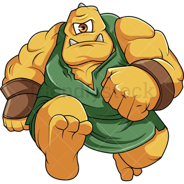 Muscular ogre running. PNG - JPG and vector EPS file formats (infinitely scalable). Image isolated on transparent background.
