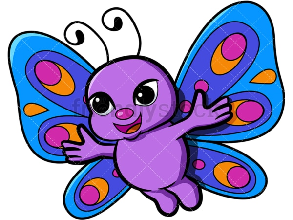Cute butterfly with open arms. PNG - JPG and vector EPS file formats (infinitely scalable). Image isolated on transparent background.