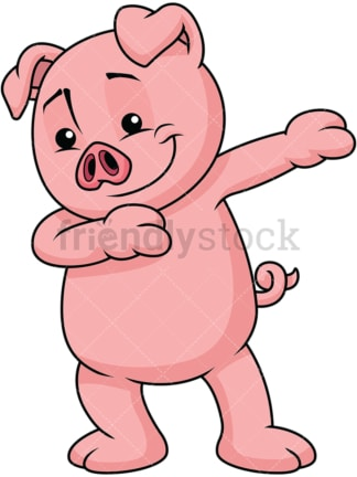 Dabbing pig. PNG - JPG and vector EPS file formats (infinitely scalable). Image isolated on transparent background.