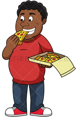 Overweight black man eating pizza. PNG - JPG and vector EPS file formats (infinitely scalable). Image isolated on transparent background.