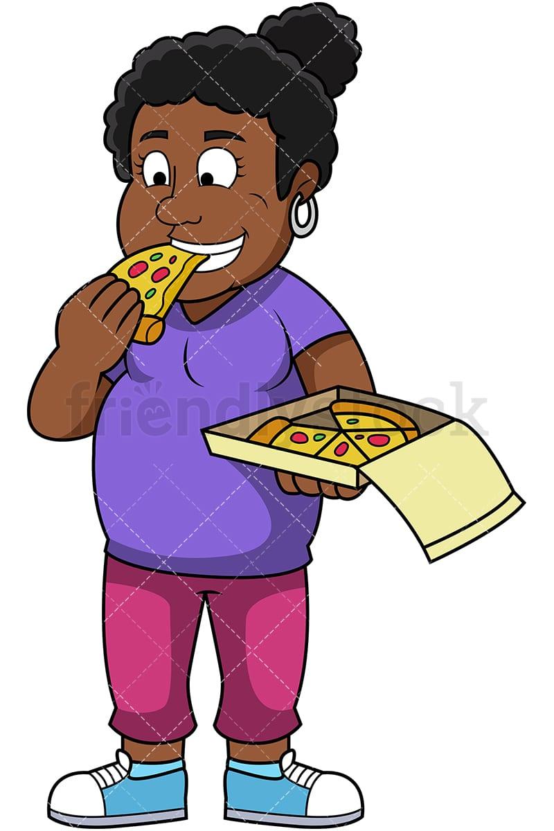 fat black woman eating pizza cartoon vector clipart