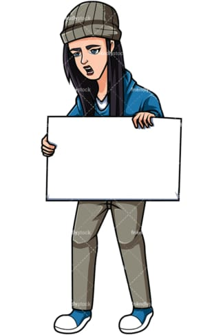 Female activist holding sign. PNG - JPG and vector EPS file formats (infinitely scalable). Image isolated on transparent background.