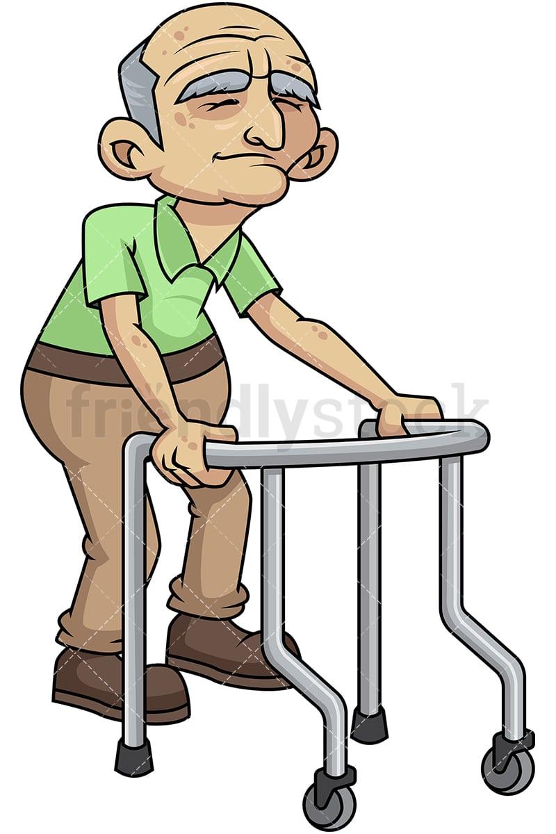 frail old man with walker cartoon vector clipart friendlystock rh friendlystock com funny old person cartoons old person cartoon picture