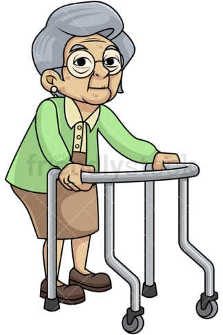 Frail old woman with walker. PNG - JPG and vector EPS file formats (infinitely scalable). Image isolated on transparent background.