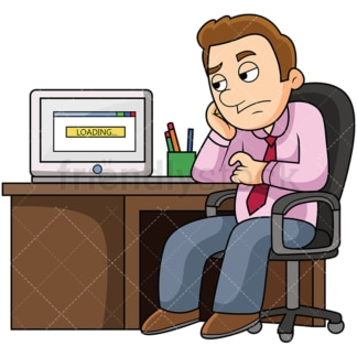 Man waiting for slow computer. PNG - JPG and vector EPS file formats (infinitely scalable). Image isolated on transparent background.