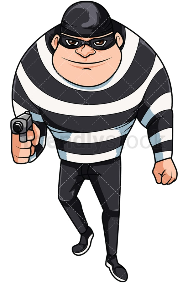 Mugger holding gun. PNG - JPG and vector EPS file formats (infinitely scalable). Image isolated on transparent background.