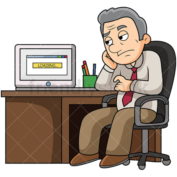 Old man waiting for slow computer. PNG - JPG and vector EPS file formats (infinitely scalable). Image isolated on transparent background.