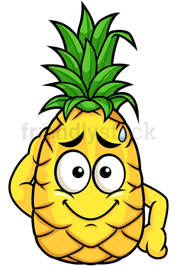 Pineapple feeling sorry. PNG - JPG and vector EPS file formats (infinitely scalable). Image isolated on transparent background.