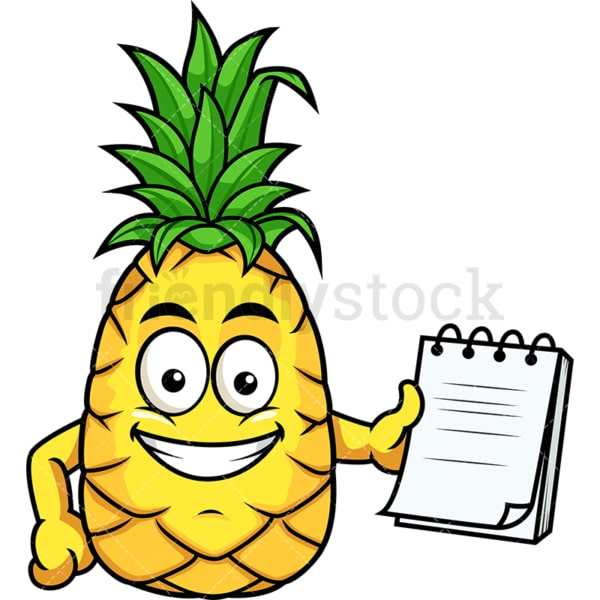 Pineapple holding notepad. PNG - JPG and vector EPS file formats (infinitely scalable). Image isolated on transparent background.