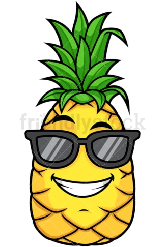 Pineapple wearing sunglasses. PNG - JPG and vector EPS file formats (infinitely scalable). Image isolated on transparent background.