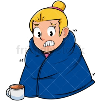 Woman staying warm with blanket. PNG - JPG and vector EPS file formats (infinitely scalable). Image isolated on transparent background.