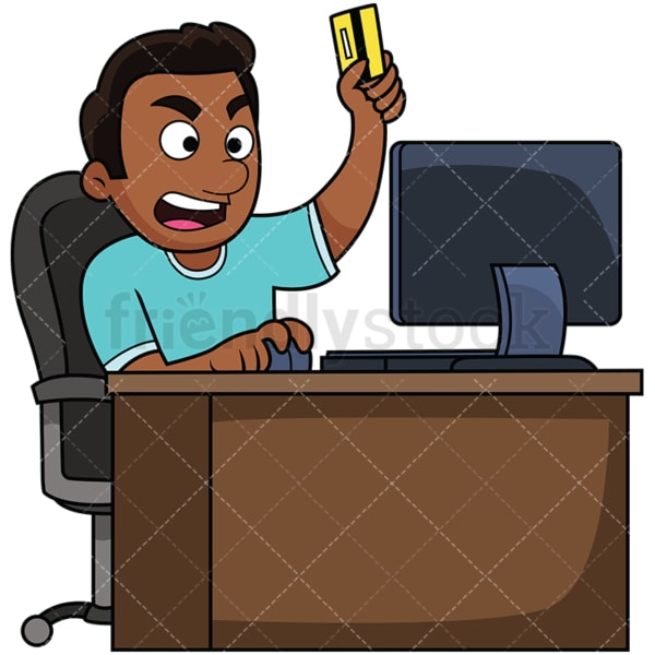 Angry black man shopping online. PNG - JPG and vector EPS file formats (infinitely scalable). Image isolated on transparent background.