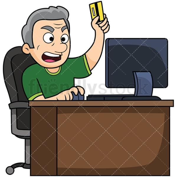 Angry old man shopping online. PNG - JPG and vector EPS file formats (infinitely scalable). Image isolated on transparent background.