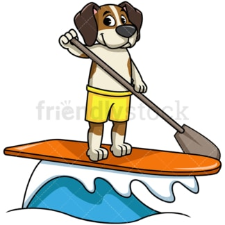 Beagle dog stand up paddling. PNG - JPG and vector EPS file formats (infinitely scalable). Image isolated on transparent background.