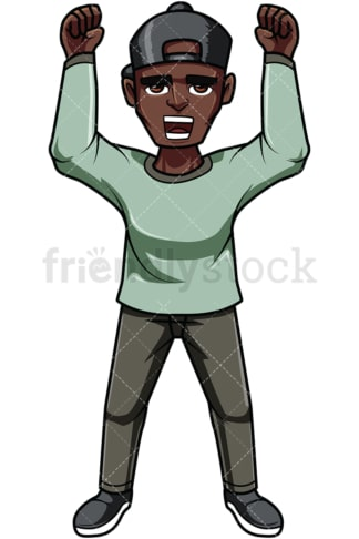 Black man protesting during rally. PNG - JPG and vector EPS file formats (infinitely scalable). Image isolated on transparent background.