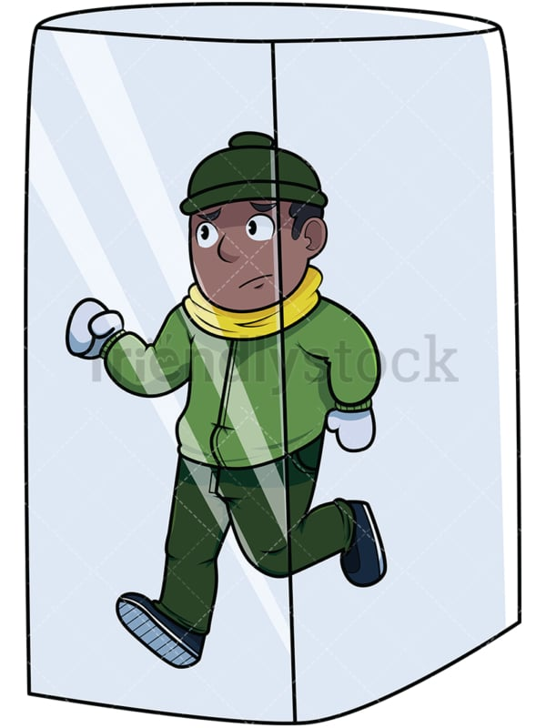 Black man trapped in ice cube. PNG - JPG and vector EPS file formats (infinitely scalable). Image isolated on transparent background.