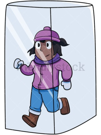 Black woman in ice cube. PNG - JPG and vector EPS file formats (infinitely scalable). Image isolated on transparent background.