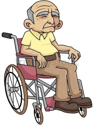 Disabled old man in wheelchair. PNG - JPG and vector EPS file formats (infinitely scalable). Image isolated on transparent background.