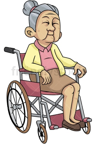 Disabled old woman in wheelchair. PNG - JPG and vector EPS file formats (infinitely scalable). Image isolated on transparent background.