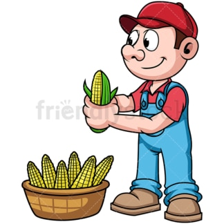 Farmer harvesting corn. PNG - JPG and vector EPS file formats (infinitely scalable). Image isolated on transparent background.