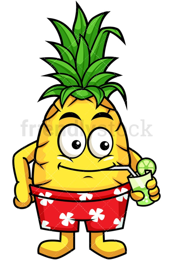 Hawaiian pineapple drinking mojito. PNG - JPG and vector EPS file formats (infinitely scalable). Image isolated on transparent background.