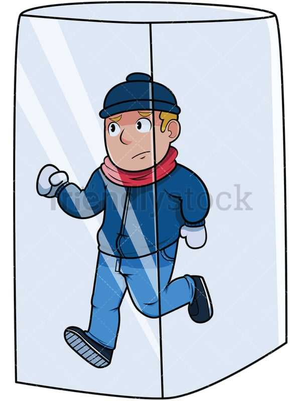 Man in ice cube. PNG - JPG and vector EPS file formats (infinitely scalable). Image isolated on transparent background.