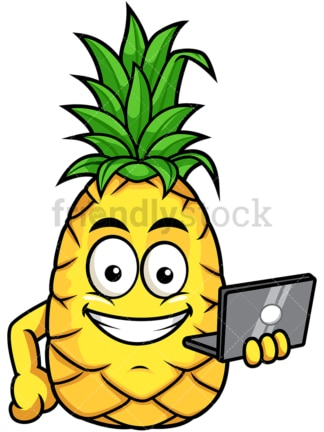 Pineapple holding laptop. PNG - JPG and vector EPS file formats (infinitely scalable). Image isolated on transparent background.