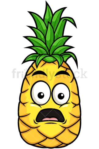 Surprised pineapple. PNG - JPG and vector EPS file formats (infinitely scalable). Image isolated on transparent background.