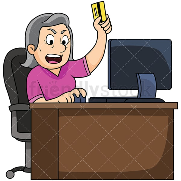 Upset old woman shopping online. PNG - JPG and vector EPS file formats (infinitely scalable). Image isolated on transparent background.