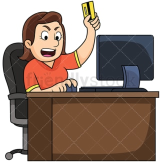 Upset woman shopping online. PNG - JPG and vector EPS file formats (infinitely scalable). Image isolated on transparent background.