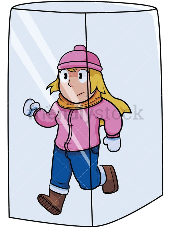 Woman in ice cube. PNG - JPG and vector EPS file formats (infinitely scalable). Image isolated on transparent background.