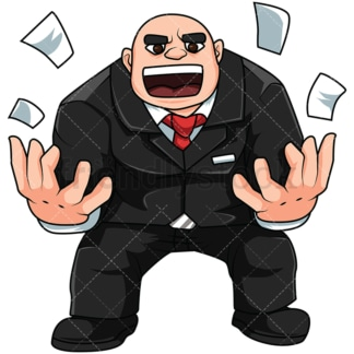 Angry boss man. PNG - JPG and vector EPS file formats (infinitely scalable). Image isolated on transparent background.