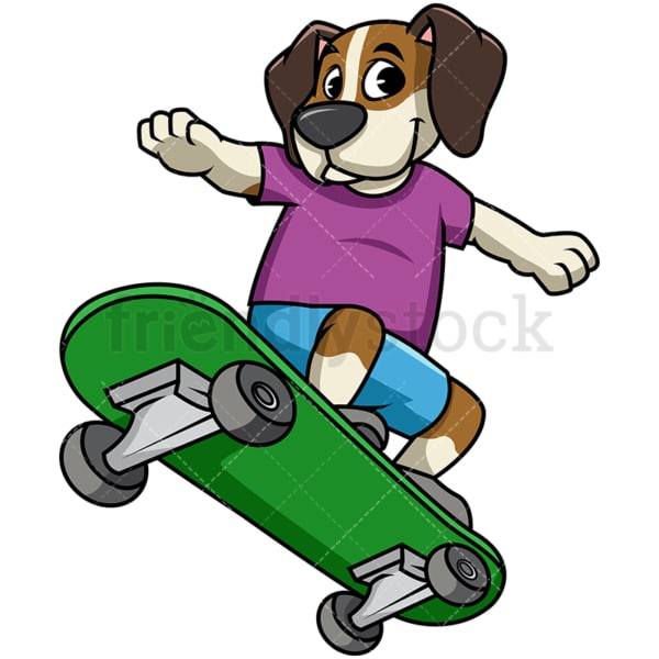 Beagle dog skateboarding. PNG - JPG and vector EPS file formats (infinitely scalable). Image isolated on transparent background.