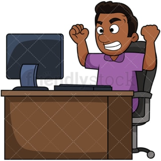 Black man angry at computer. PNG - JPG and vector EPS file formats (infinitely scalable). Image isolated on transparent background.