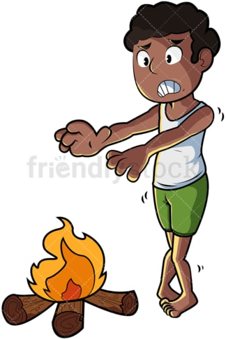 Black man warming body by fire. PNG - JPG and vector EPS file formats (infinitely scalable). Image isolated on transparent background.