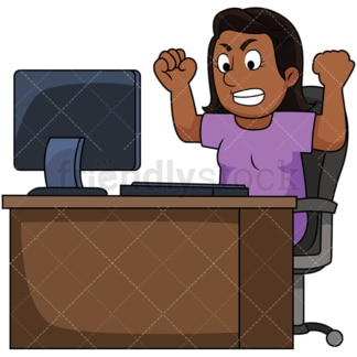 Black woman angry at computer. PNG - JPG and vector EPS file formats (infinitely scalable). Image isolated on transparent background.
