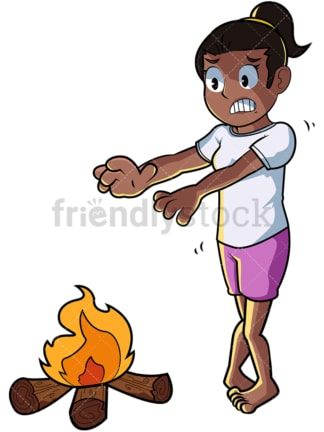 Black woman keeping warm by fire. PNG - JPG and vector EPS file formats (infinitely scalable). Image isolated on transparent background.