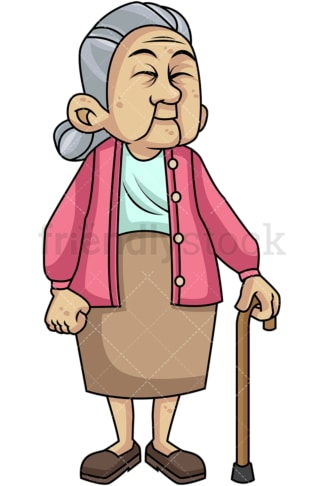 Caring old woman with walking stick. PNG - JPG and vector EPS file formats (infinitely scalable). Image isolated on transparent background.