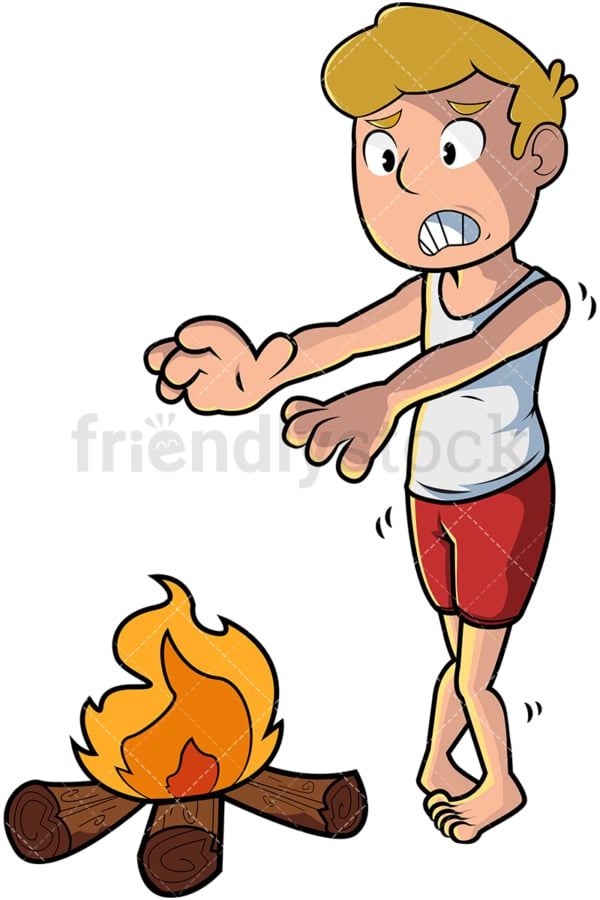 Cold man warming hands over fire. PNG - JPG and vector EPS file formats (infinitely scalable). Image isolated on transparent background.