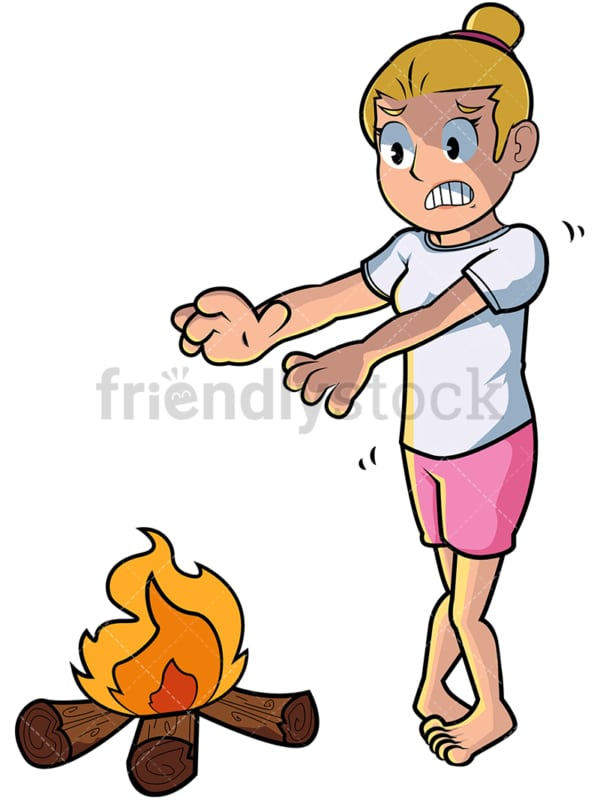 Cold woman warming hands over fire. PNG - JPG and vector EPS file formats (infinitely scalable). Image isolated on transparent background.