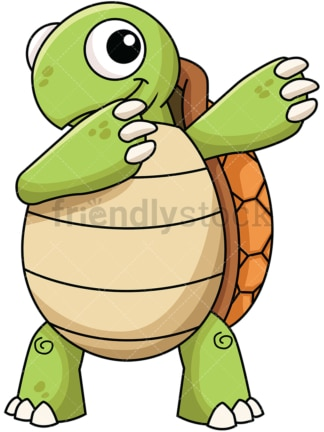 Dabbing turtle. PNG - JPG and vector EPS file formats (infinitely scalable). Image isolated on transparent background.