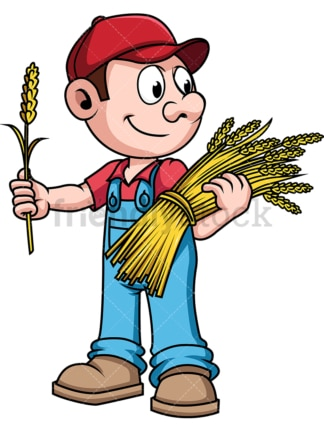 Farmer harvesting wheat. PNG - JPG and vector EPS file formats (infinitely scalable). Image isolated on transparent background.