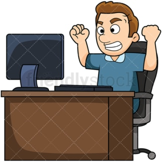 Man angry at computer. PNG - JPG and vector EPS file formats (infinitely scalable). Image isolated on transparent background.