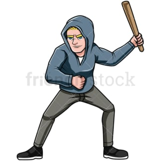 Man holding club during riot. PNG - JPG and vector EPS file formats (infinitely scalable). Image isolated on transparent background.