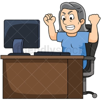 Old woman angry with computer. PNG - JPG and vector EPS file formats (infinitely scalable). Image isolated on transparent background.