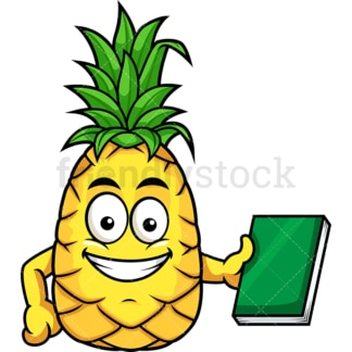 Pineapple holding book. PNG - JPG and vector EPS file formats (infinitely scalable). Image isolated on transparent background.