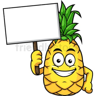 Pineapple holding empty sign. PNG - JPG and vector EPS file formats (infinitely scalable). Image isolated on transparent background.
